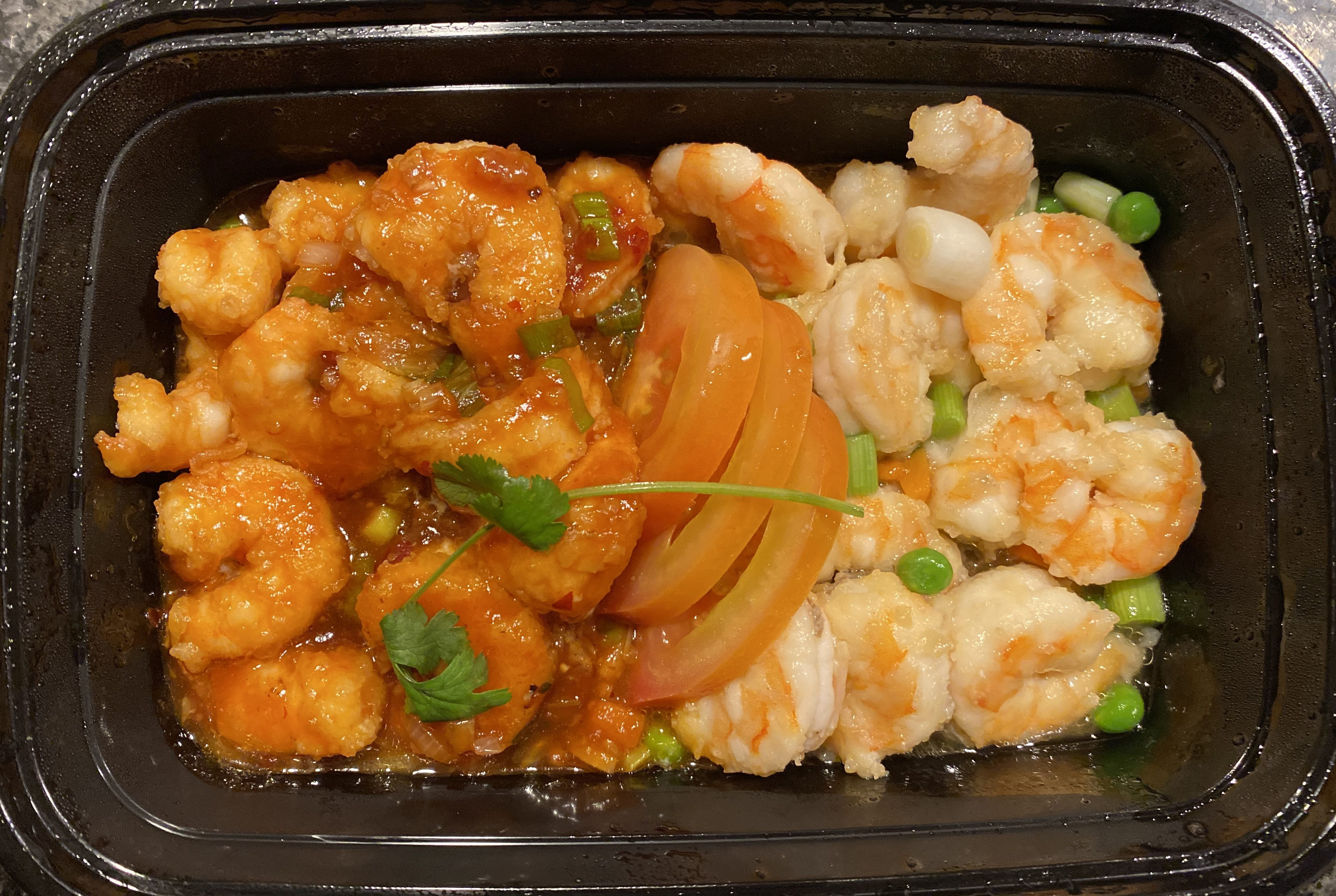 Chinese Take-Out from Chef Chu'sLover's Prawns: prawns two ways, sweet & spicy.